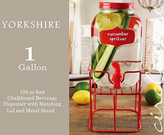 Circleware 69137 Chalkboard Mini Yorkshire Mason Jar Glass Beverage Drink Dispenser with Red Metal Stand, Spout & Lid, 1 Gallon, Glassware for Water, Iced Tea Kombucha etc