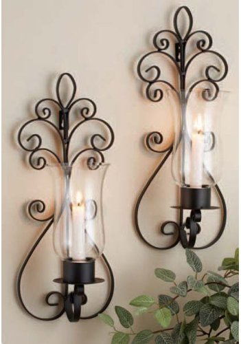 Home Essentials 7027 Set of 2 Pear Sconces, Black