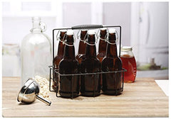 Circleware 67018 IBrew Glass Water Beer Bottle Carafe with Hermetic Locking Swing Top Easy Wire Lid Stopper and Metal Caddy Stand, Set of 7, 16.9 oz, 6pc Brown