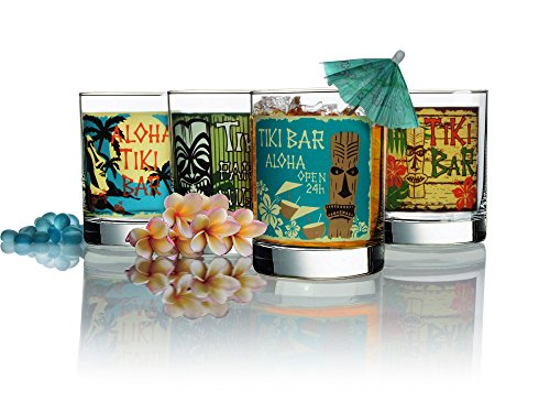 Luminarc Tikis Decorated Double Old Fashioned (Set of 4), 13.25 oz