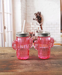 Circleware 06367 Huge Set of 12 Mason Jars Drinking Glasses with Metal Lids and Hard Straws Glassware for Water Beer and Kitchen & Home Decor Bar Dining Beverage Gifts, 15.5 oz, Pink Cactus