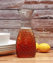 Circleware Garden Gate Honey Bee, 1 Liter Glass Water Drink Pitcher Carafe