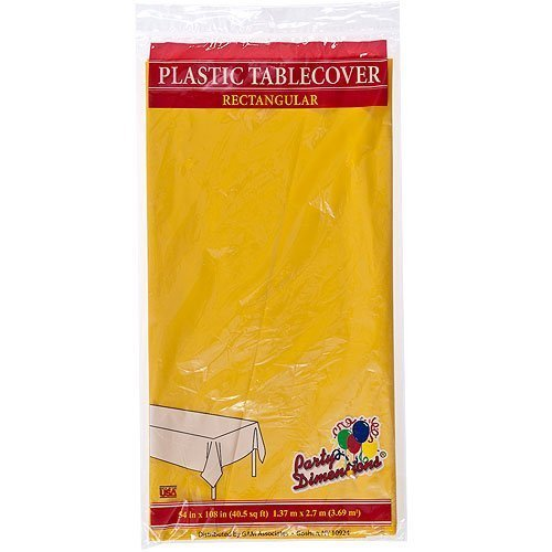 Plastic Party Tablecloths - Disposable, Rectangular Tablecovers - 4 Pack - Sunshine Yellow - By Party Dimensions