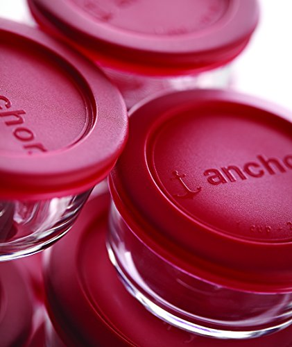 Anchor Hocking Classic Glass Food Storage Containers with Lids, Red, 2 Cup (Set of 3)