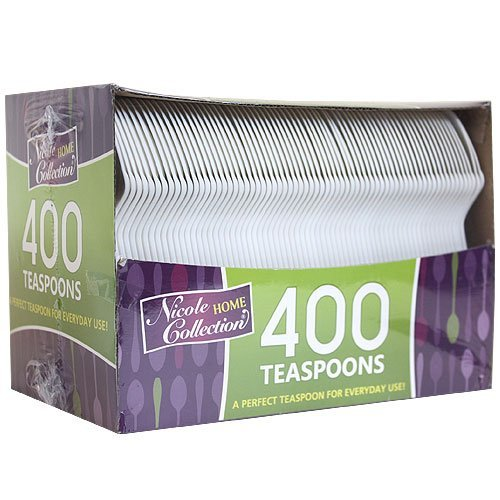 Plastic Cutlery, Teaspoons, Medium Weight Disposable, 400 Count, White
