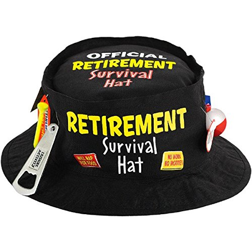 Amscan Fun-Filled Retirement Party Official Retirement Survival Hat, Black, 11.5 x 11.5