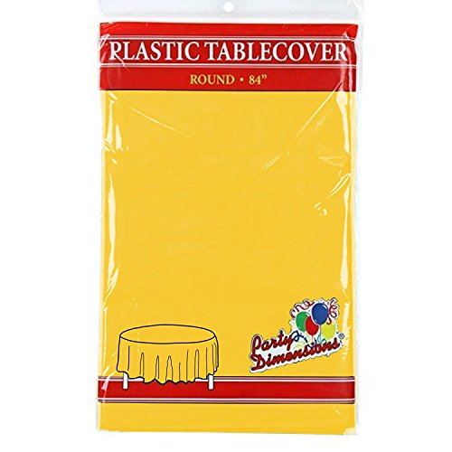 "Sunshine Yellow Round Plastic Tablecloth - 4 Pack - Premium Quality Disposable Party Table Covers for Parties and Events - 84"" - By Party Dimensions"