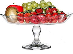 "Circleware 54067 Gala Glass Cake Plate Serving Dessert Dish Platter, Home & Kitchen Entertainment Utensils for Fruit, Ice Cream, Salad, Cheese, Candy and All Food, 12.5"" D x 6"" H, Footed Stand"