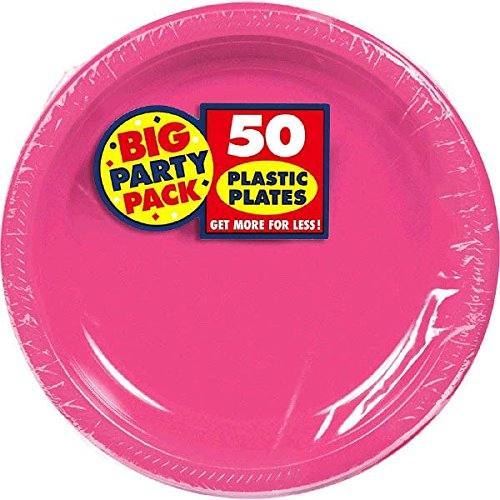 Amscan Big Party Pack 50 Count Plastic Lunch Plates, 10.5-Inch, Bright Pink