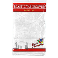 "White Round Plastic Tablecloth - 4 Pack - Premium Quality Disposable Party Table Covers for Parties and Events - 84"" - By Party Dimensions"