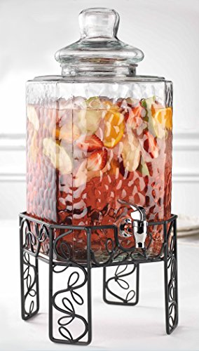 Bon Appetit 2.25 Gallon Hammered Glass Beverage Dispenser With Knobbed Lid On Leaf Patterned Metal Stand and Raised Easy Flow Spigot, for Picnics Parties Bbq – By Home Essentials & Beyond