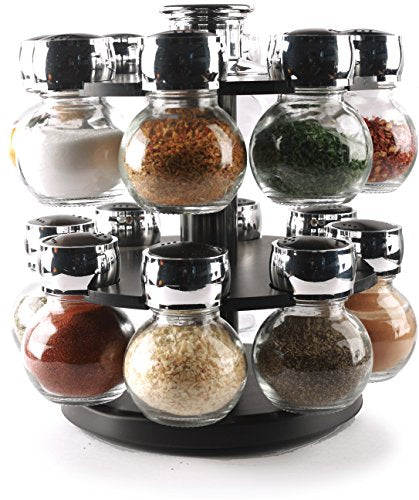 Circleware 66501 Contempo 16 Glass Jar Revolving Countertop Carousel Spice Salt and Pepper Shaker Rack Organizer, Set of 16, Clear 16pc Plus Holder