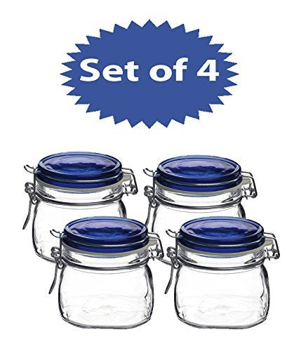 Bormioli Rocco Fido Square Jar with Blue Lid, 17-1/2-Ounce (set of 4)