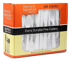 Plastic Cutlery Combo, White Heavy-Duty Cutlery, Disposable Flatware Cutlery - 240-Piece Set.