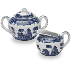 HIC Blue Willow Creamer Dispenser and Sugar Bowl with Lid, Fine White Porcelain, 3 Piece Set