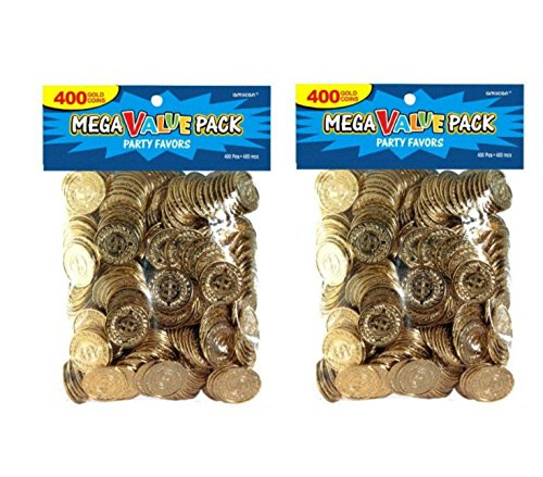 Set of 2 Amscan Novelty Plastic Gold Coins Value Pack - 400 Ct. bundled by Maven Gifts