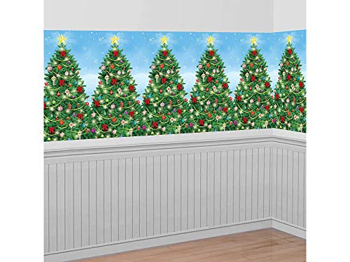 Amscan Christmas Decoration Evergreen Wall Scene Setter | Plastic