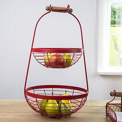 Home Essentials 13 inches x 12 inches x 23 inches Red 2-Tier Fruit Basket with Wood Handle Kitchenware