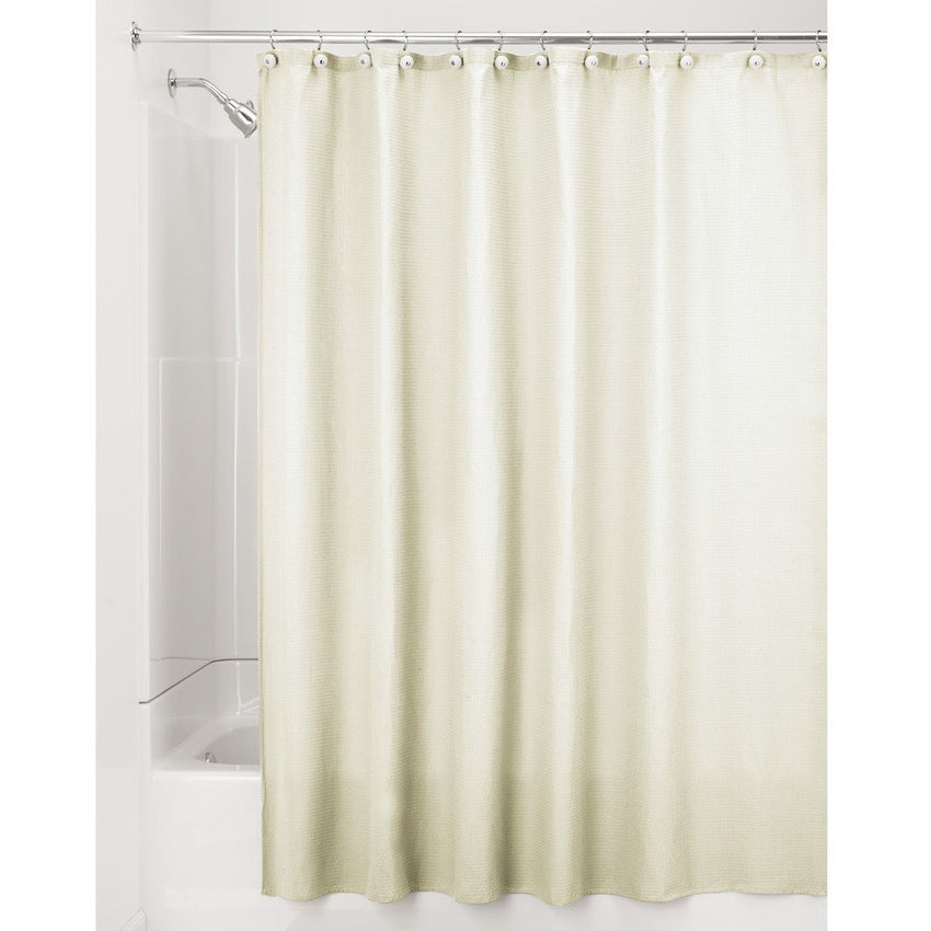 InterDesign York Hotel Fabric Cotton and Polyester Blend Shower Curtain, X-Long, 72 x 96, Natural