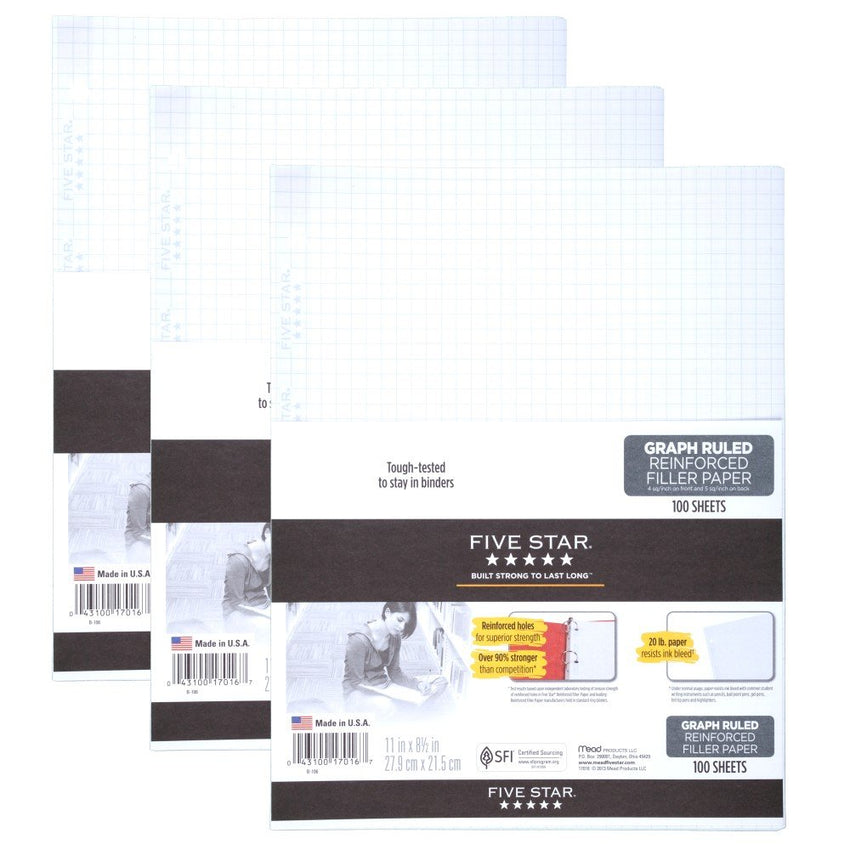 "Five Star Filler Paper, Graph Ruled Paper, 100 Sheets/Pack, 11"" x 8-1/2"", Reinforced, Loose Leaf, White, 3 Pack (73187)"