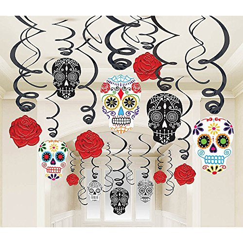 30-piece Day of the Dead Black and Bone Foil Swirls Value Pack Kit