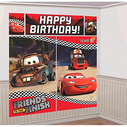 "Amscan Disney Cars Formula Racer Birthday Party Scene Setters Wall Decorating Kit (5 Pack), 59"" x 65"", Bright Red"