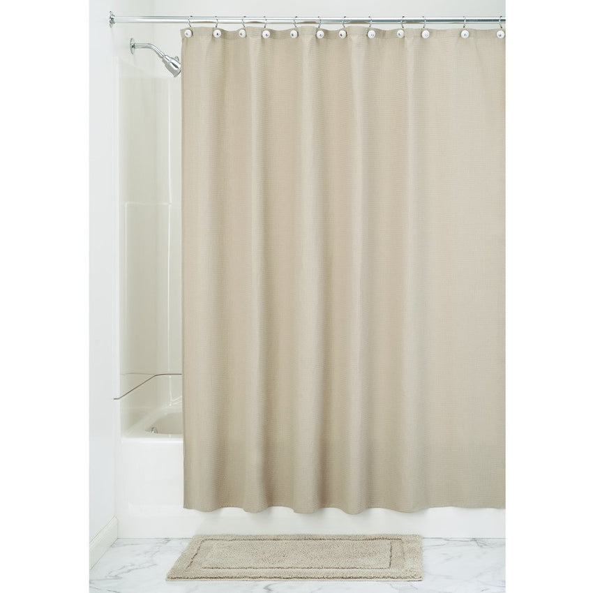 InterDesign York Hotel Fabric Cotton and Polyester Blend Shower Curtain, 54 x 78, Natural