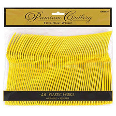 Amscan 48 Count Heavy Weight Plastic Forks, Yellow Sunshine