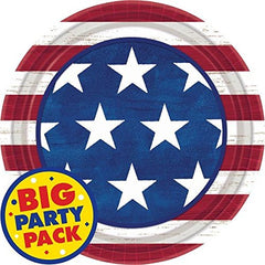 "Americana Lunch Plates Patriotic 4th of July Party Disposable Tableware, Paper, Round, 9"", Pack of 50."