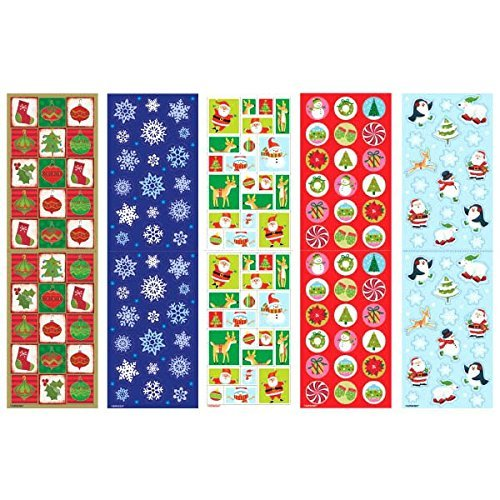 Amscan Christmas Paper Sticker Big Pack, 350 Stickers of Fun, 10 1/4 by 3, Multicolor (2-Pack: 700 Stickers)