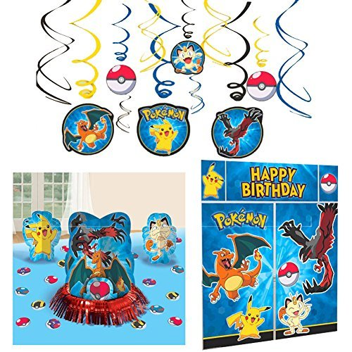 Pokemon Party Decorations Bundle - Table Decorating Kit, Scene Setter, and Hanging Swirls