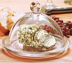 Circleware Dome De Fromage Mini Glass Cheese Butter Dish Dome with Tray Plate and Handle, Limited Edition Glassware Serveware