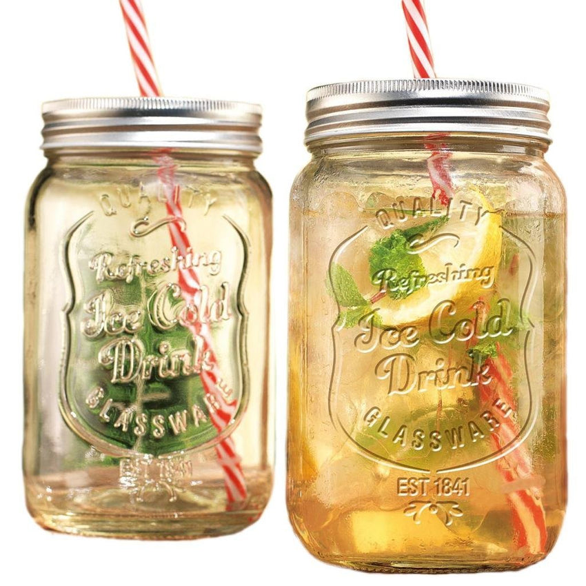 GFSmart Glass Mason Jar Beverage Cups Drink Cup with Stainless Steel Lid, Straw Included, 30 oz, Clear, Set of 2