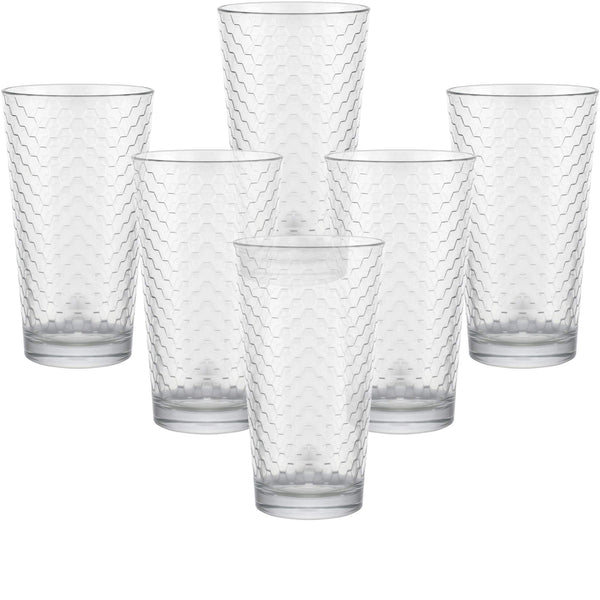 Circleware 40143 Paragon Honeycomb Set of 6 Heavy Base Highball Beverage Drinking Glasses Tumbler Cups for Water, Juice, Milk, Beer, Ice Tea 15.7 oz 6pc