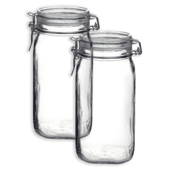 Bormioli Rocco Set OF 2 Bormioli Rocco Fido Square Jars With Clear Bail And Trigger Lids, 50-1/4-oun