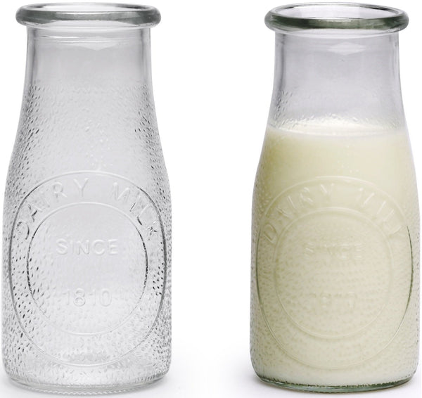 Circleware 69009 Hammered Milk Bottles/Drinking Glasses, Set of 6, Glassware for Water, Juice, Beer, Wine, Liquor, Kombucha Iced Tea Punch and Cold, 16 oz, Clear