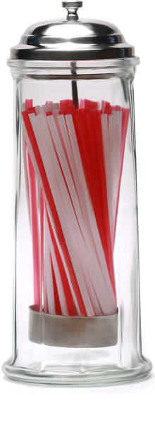 "Circleware 66793 Retro Old Fashioned Glass Straw Dispenser Holder with Metal Lid and Red & White Beverage Drinking Tubes Included, Holds Pencils and Chopsticks 10.8"" H x 4.1"" W Vintage Utensil Jar"
