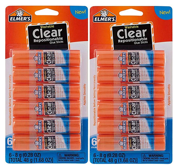 Elmer's Clear Glue Stick - 6 Count (2 Pack)