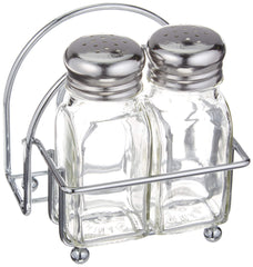 Tablecraft Chrome Salt and Pepper Shakers and Napkin Caddy