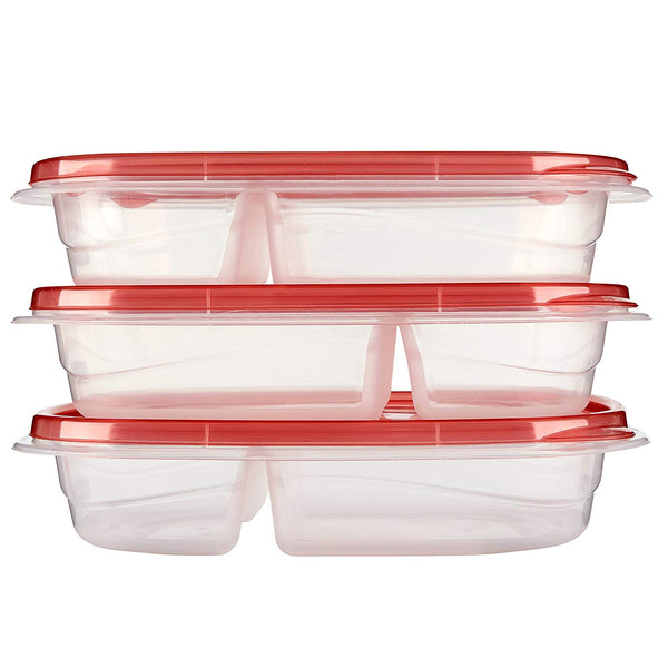 Rubbermaid TakeAlongs Divided Rectangular Food Storage Containers, 3.7 Cup, Tint Chili, 3 Count 1789975