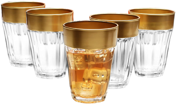 Circleware 51809 De'ore Gold Heavy Base Juice Glasses Set of 6 Party Entertainment Kitchen Dining Beverage Drinking Cup Glassware for Water, Milk, Beer, Liquor, Whiskey & Bar Decor, 7 oz, Golden Rim