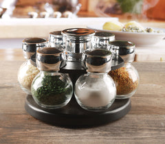 Circleware Contempo 6 Glass Jar Revolving Countertop Carousel Spice Salt and Pepper Shaker Rack Organizer