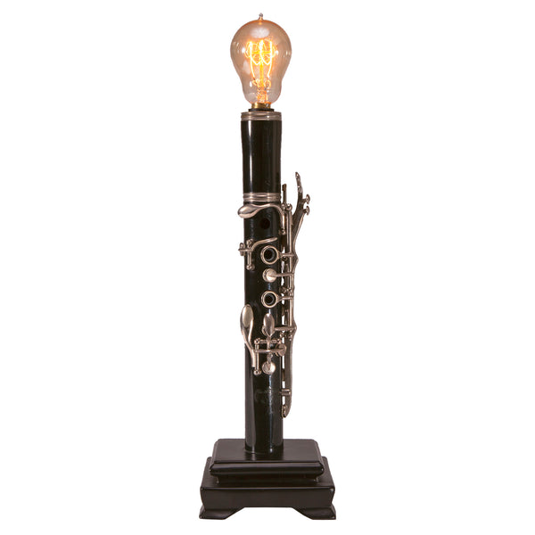Vintage Clarinet Lamp with New Filament Lightbulb