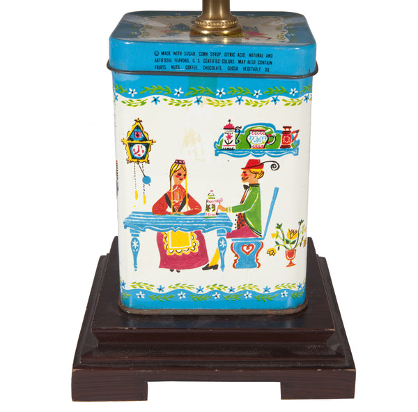 Vintage Small Square Candy Tin Table Lamp