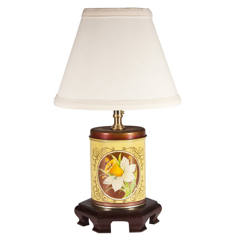 Small Yellow Flowers Vintage Tin Lamp