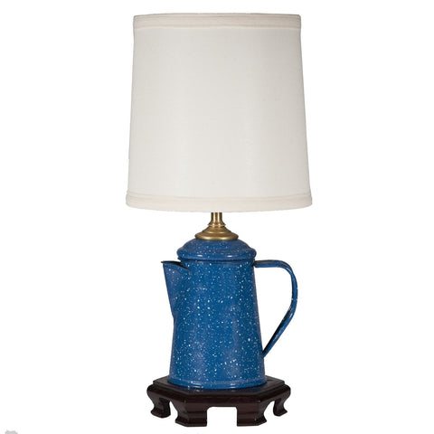 Vintage Blue Metal Coffee Pot Lamp