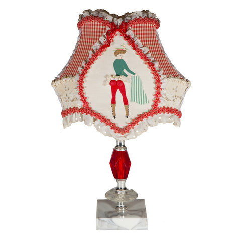 Vintage Red Lamp and Original Vintage Naughty Lamp Shade