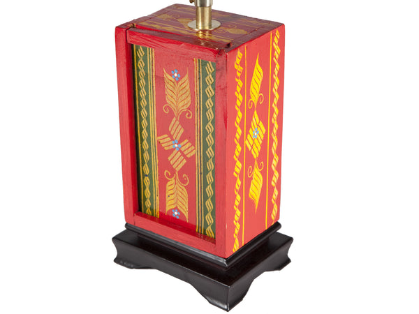 Vintage Folk Art Painted Red Wood Box Lamp