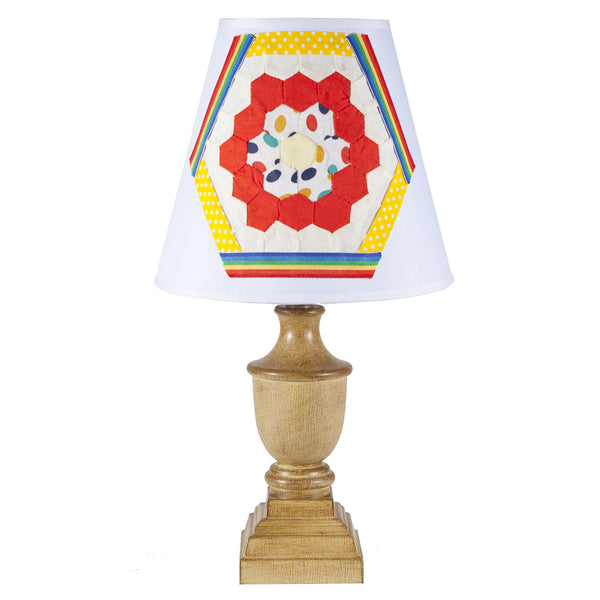 Small Urn Lamp with Vintage Fabric Lampshade