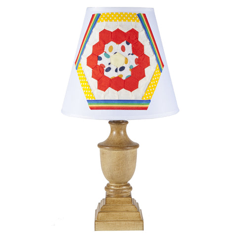 Small Basic Lamp with Vintage Fabric Lampshade